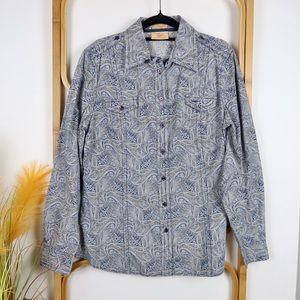 R.M Williams top size 12 blue white paisley blouse